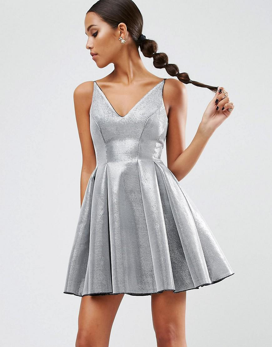Lyst - ASOS Night High Apex Bonded Mini Prom Dress in Metallic 019ca5917