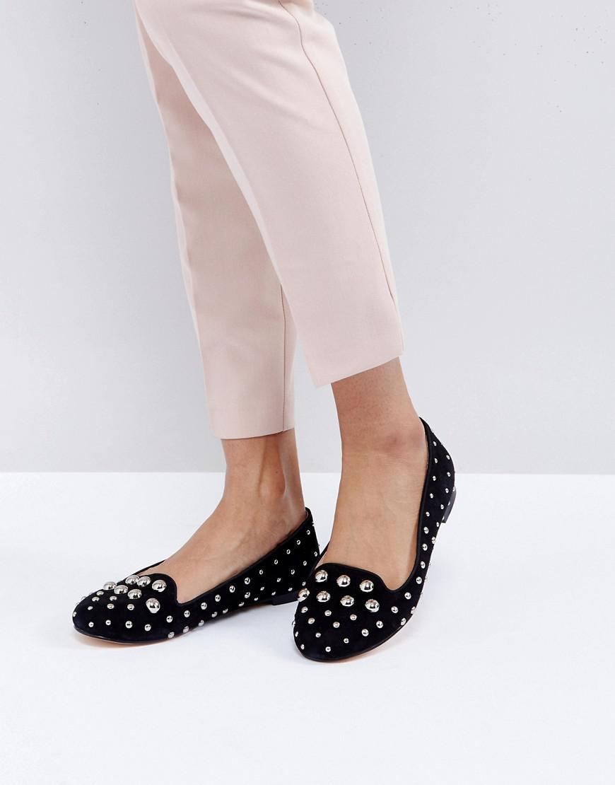 Floodlight Studded Suede Flat Shoes - Black Office