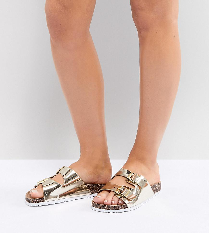 48c8fcaabd33 Lyst - Park Lane Wide Fit Double Buckle Flat Sandals in Metallic