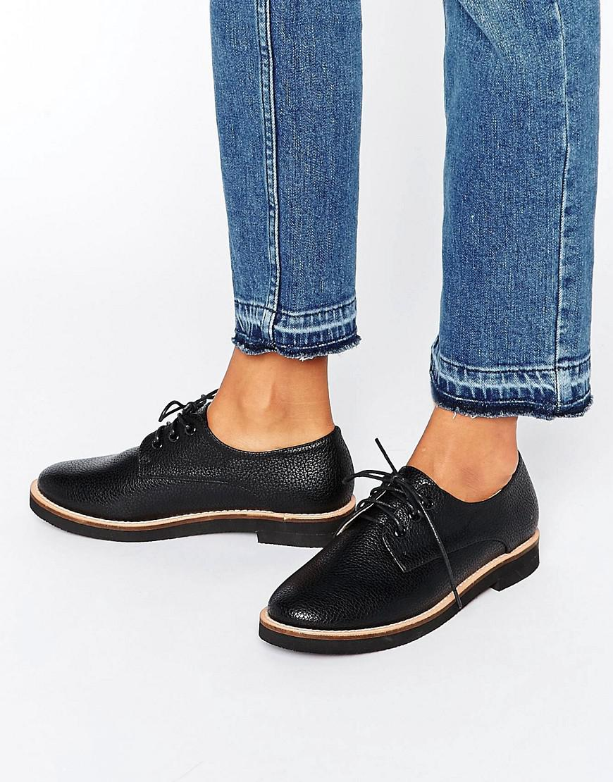 1abad109f London Rebel Lace Up Flat Brogue Shoes in Black - Lyst