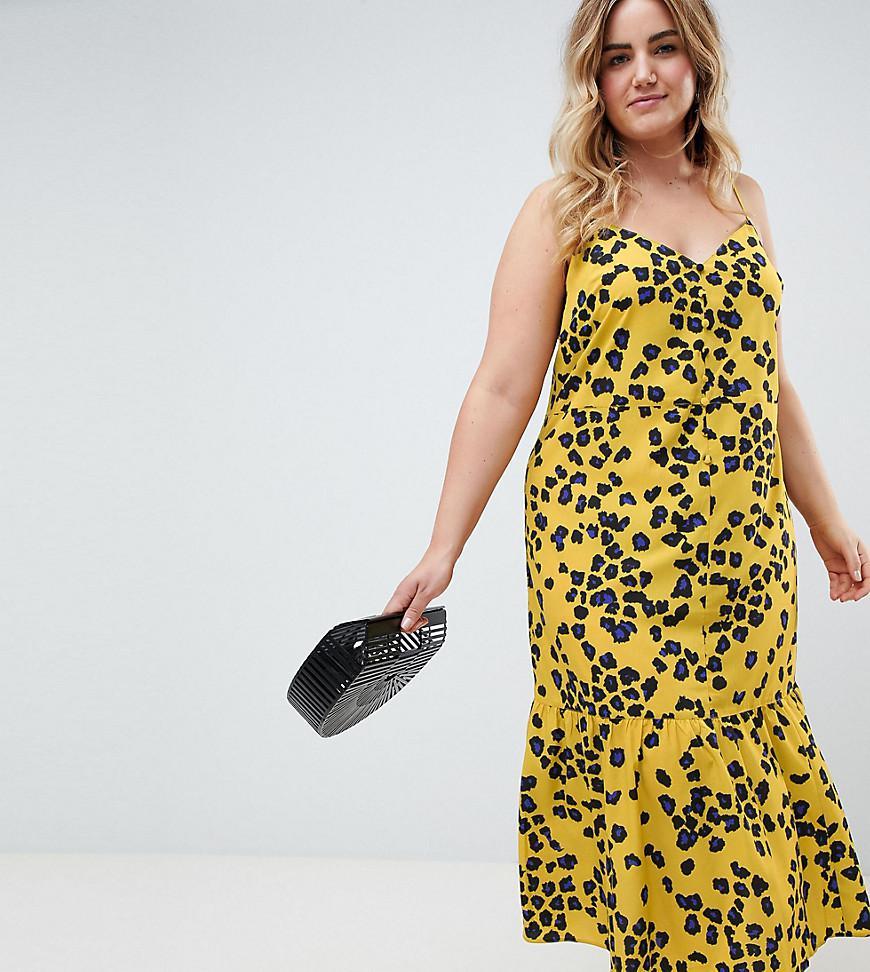 18c3578fc6c6 ASOS Asos Design Curve Leopard Print Pephem Midi Slip Dress in ...