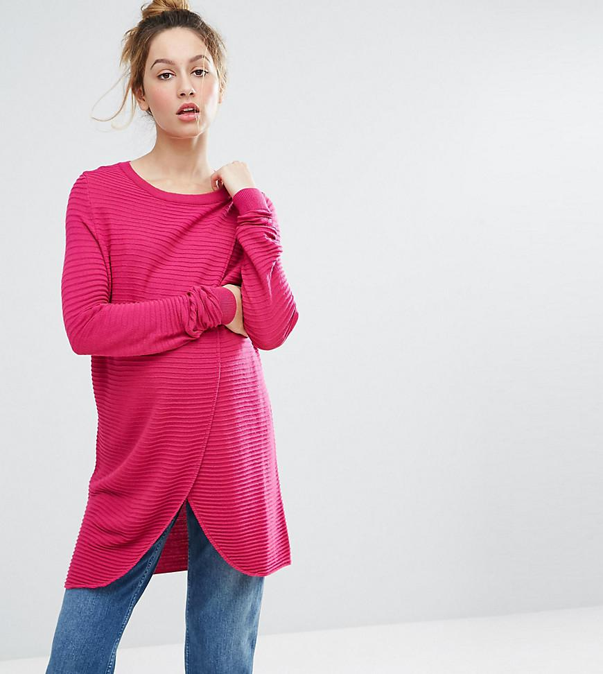 1a6eb6ade9e0d Lyst - ASOS Nursing Wrap Over Jumper In Textured Stripe in Pink
