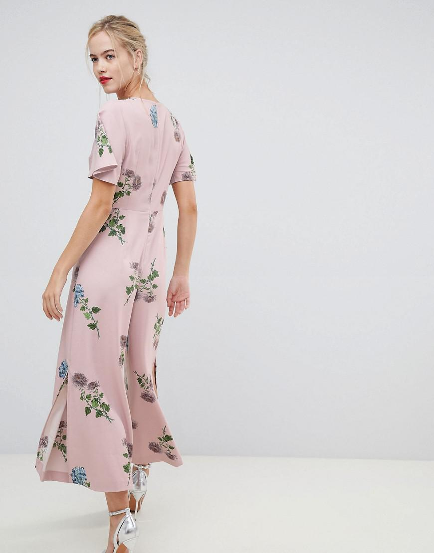 31eab159fbde Oasis Jumpsuit With Split Leg In Floral Print in Pink - Lyst