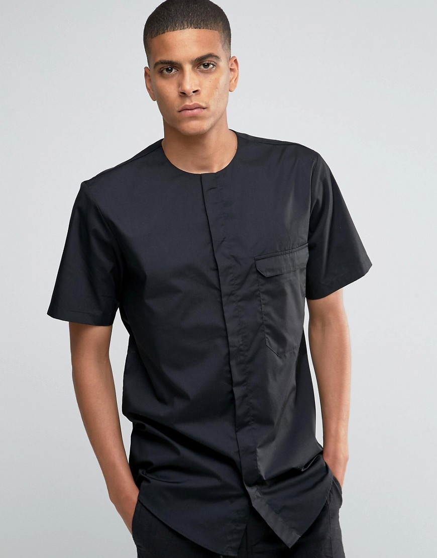 Lyst asos collarless military shirt in black with short for Collarless short sleeve dress shirt