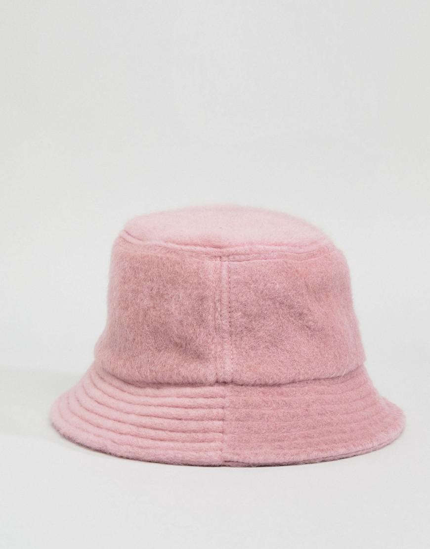 4c7473ed3c6 Lyst - ASOS Fluffy Bucket Hat in Pink