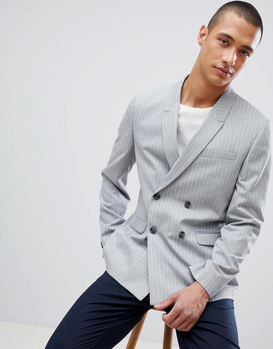 80bcc98b9d86 Asos Skinny Double Breasted Blazer In Grey Pinstripe in Gray for Men ...