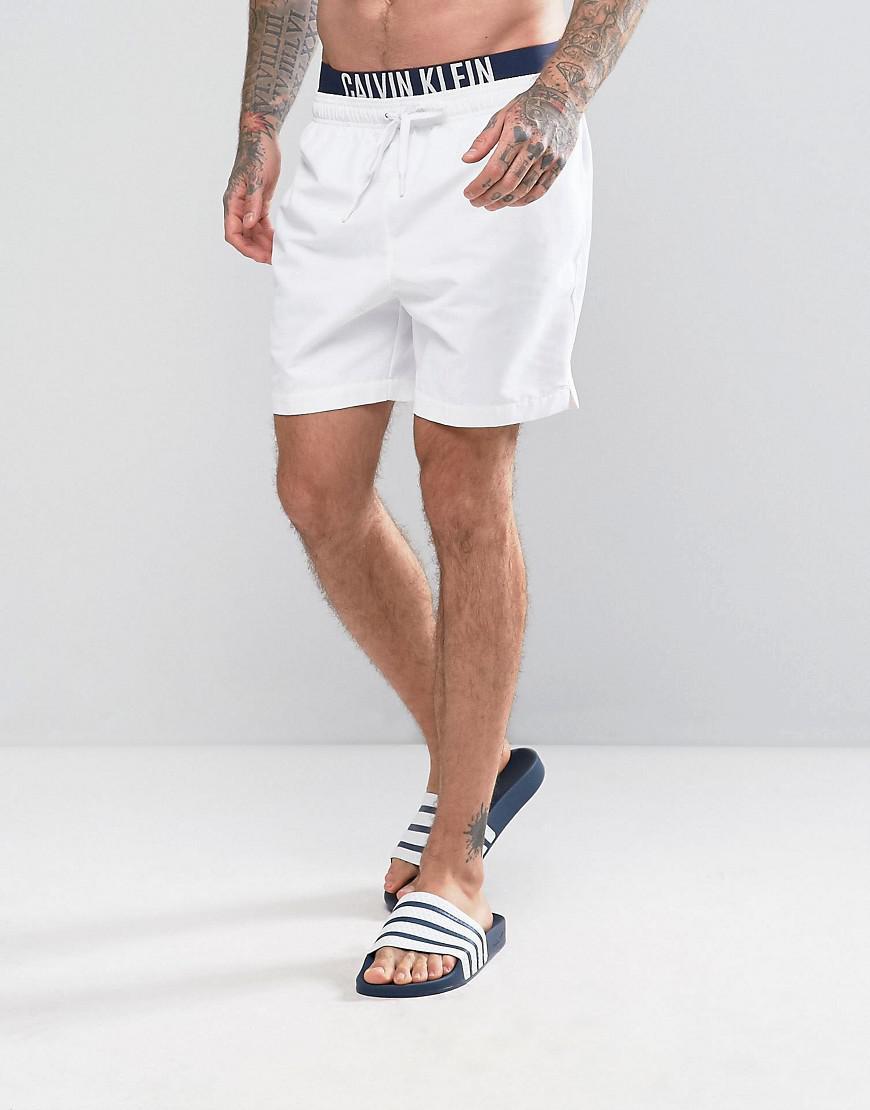 f1eeee5876 Calvin Klein Id Intense Power Double Waistband Swim Shorts in White ...