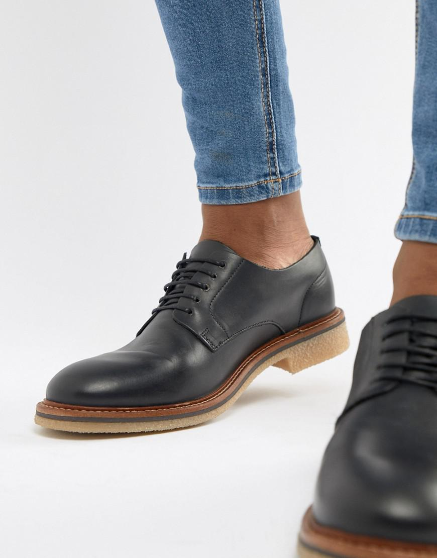 d5df12febf64 Lyst - ASOS Lace Up Shoes In Black Leather With Natural Sole in ...