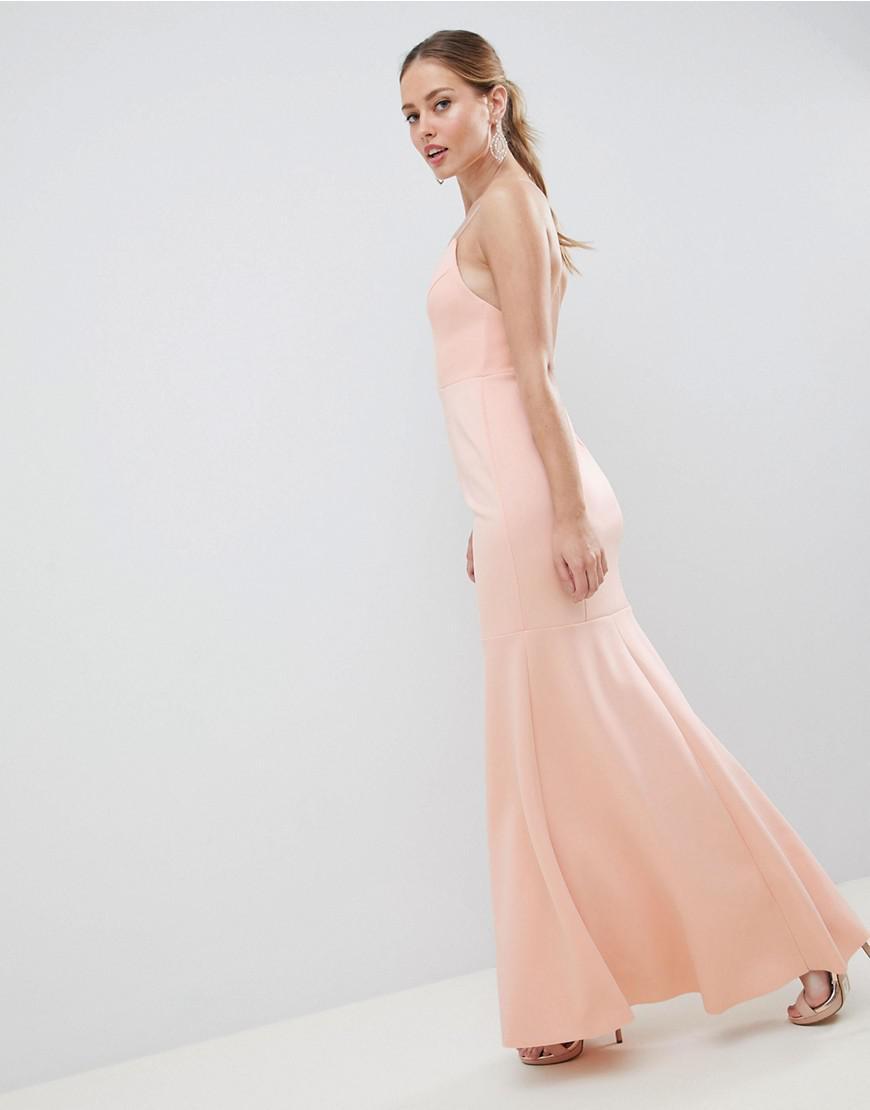 b0b45e4b5989 ASOS Drop Waist Scuba Cami Maxi Dress in Pink - Lyst