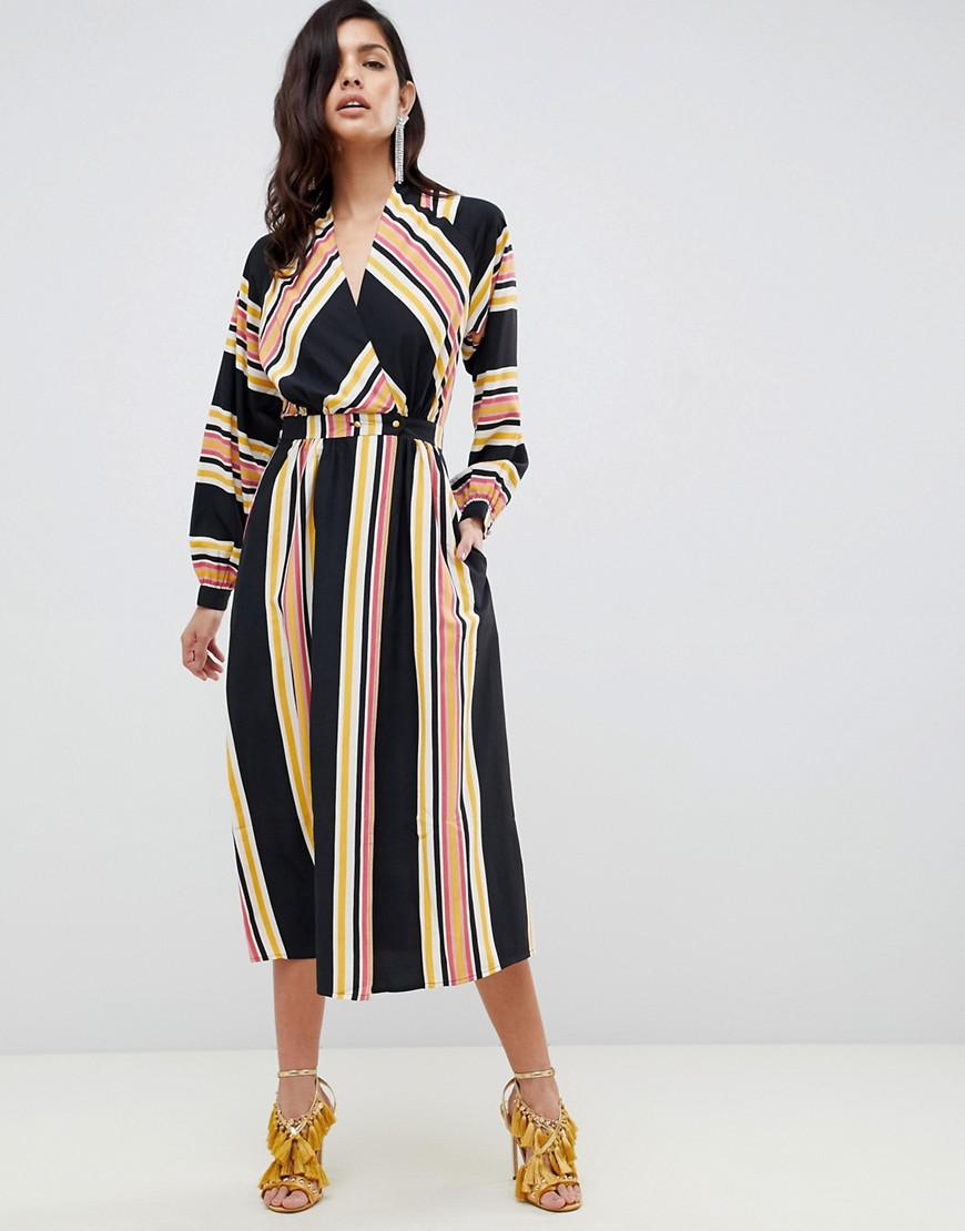 f4d87cdd5b364 Lyst - ASOS Wrap Maxi Dress In Stripe With Long Sleeves