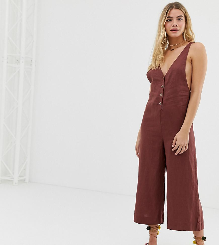 5955690e686 Rhythm Amalfi Linen Culotte Leg Jumpsuit In Ginger in Brown - Lyst