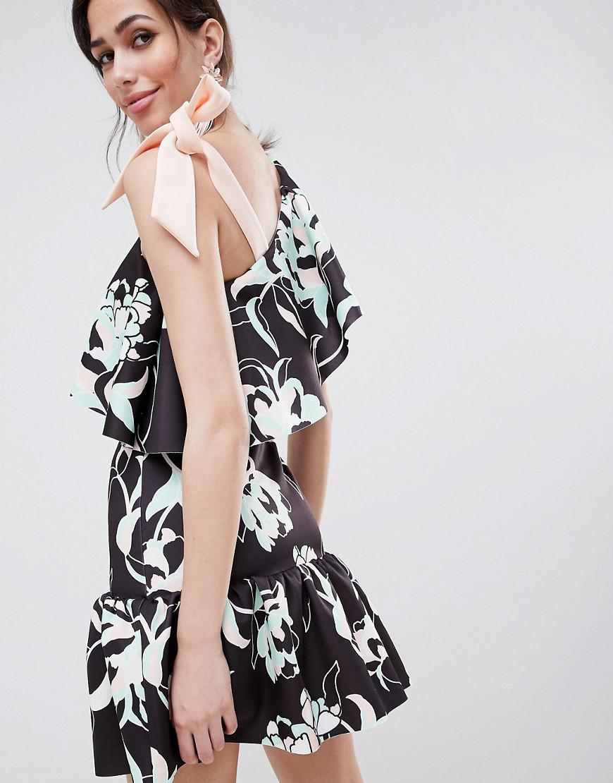81b9396cb87 ASOS Floral One Shoulder Ruffle Mini Dress With Bow Detail - Lyst
