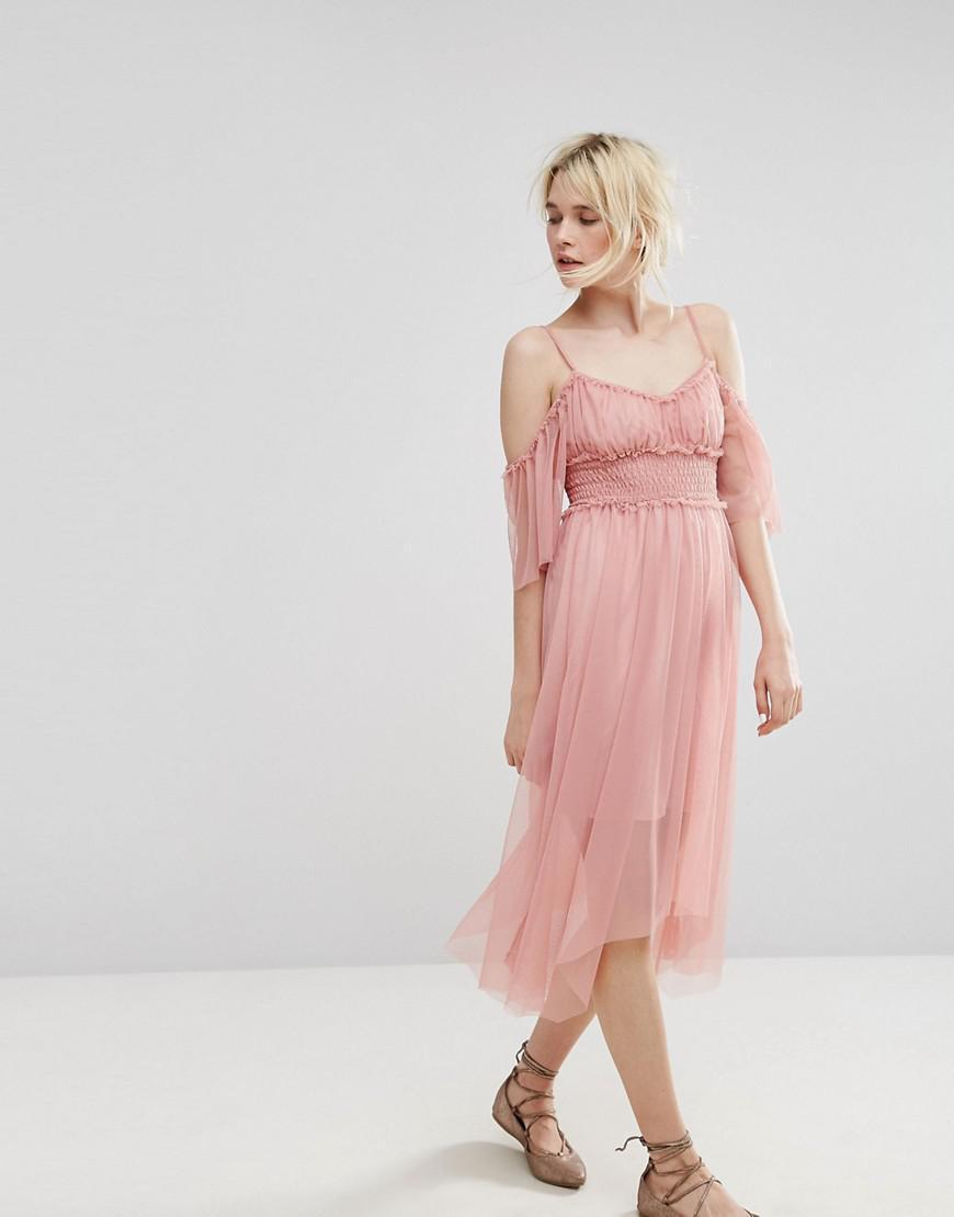Lyst - Miss Selfridge Mesh Cold Shoulder Dress in Pink