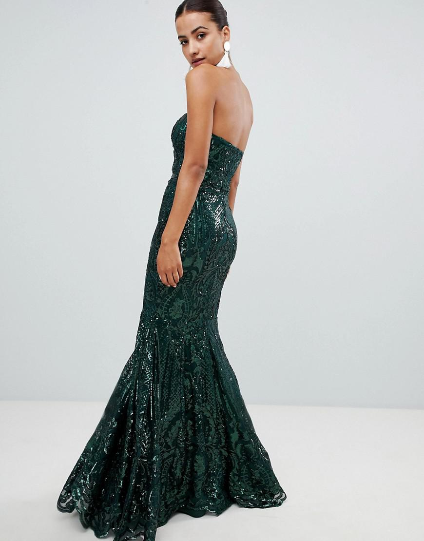 2c974f0ea77f Club L Embellished Sequin Strapless Fishtail Maxi Dress in Green - Lyst