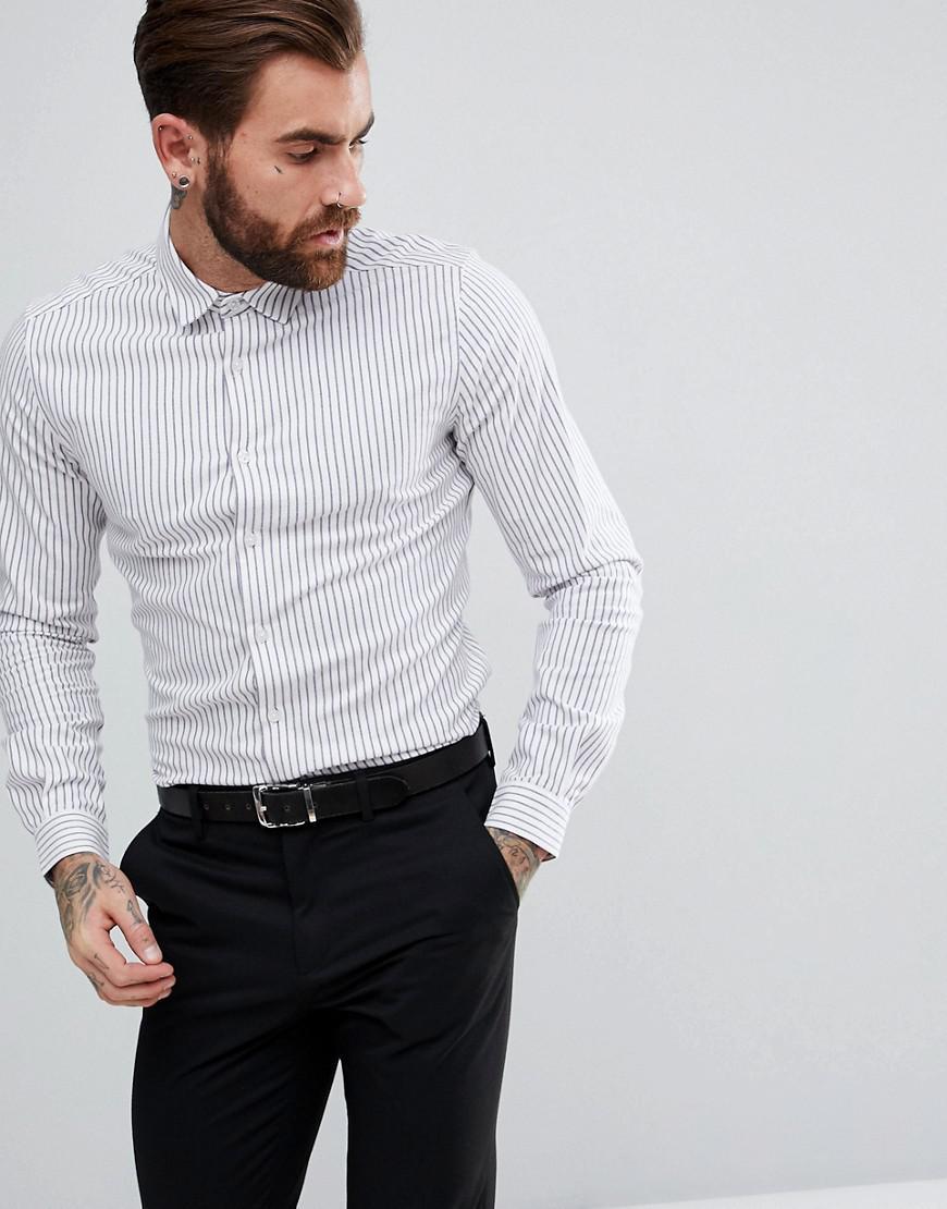 ASOS. Men's Blue Smart Stretch Slim Twill Stripe Shirt ...