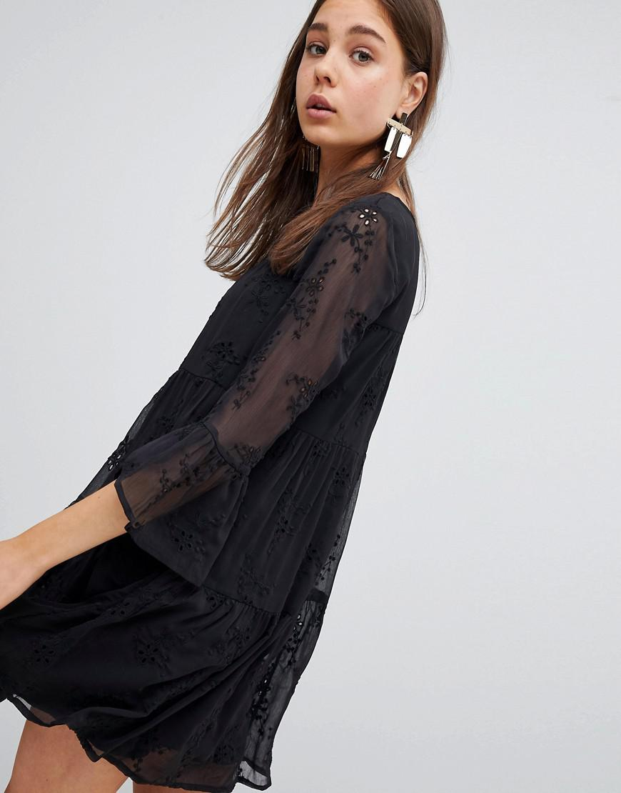 49865614b3f New Look Embroidered Smock Dress in Black - Lyst