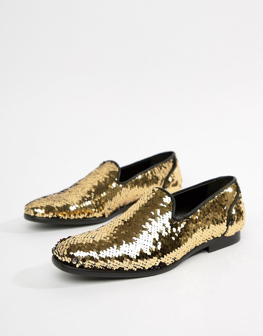 caed0111b924 Lyst asos loafers in reversible sequin gold to black for men jpg 870x1110  Loafers with gold