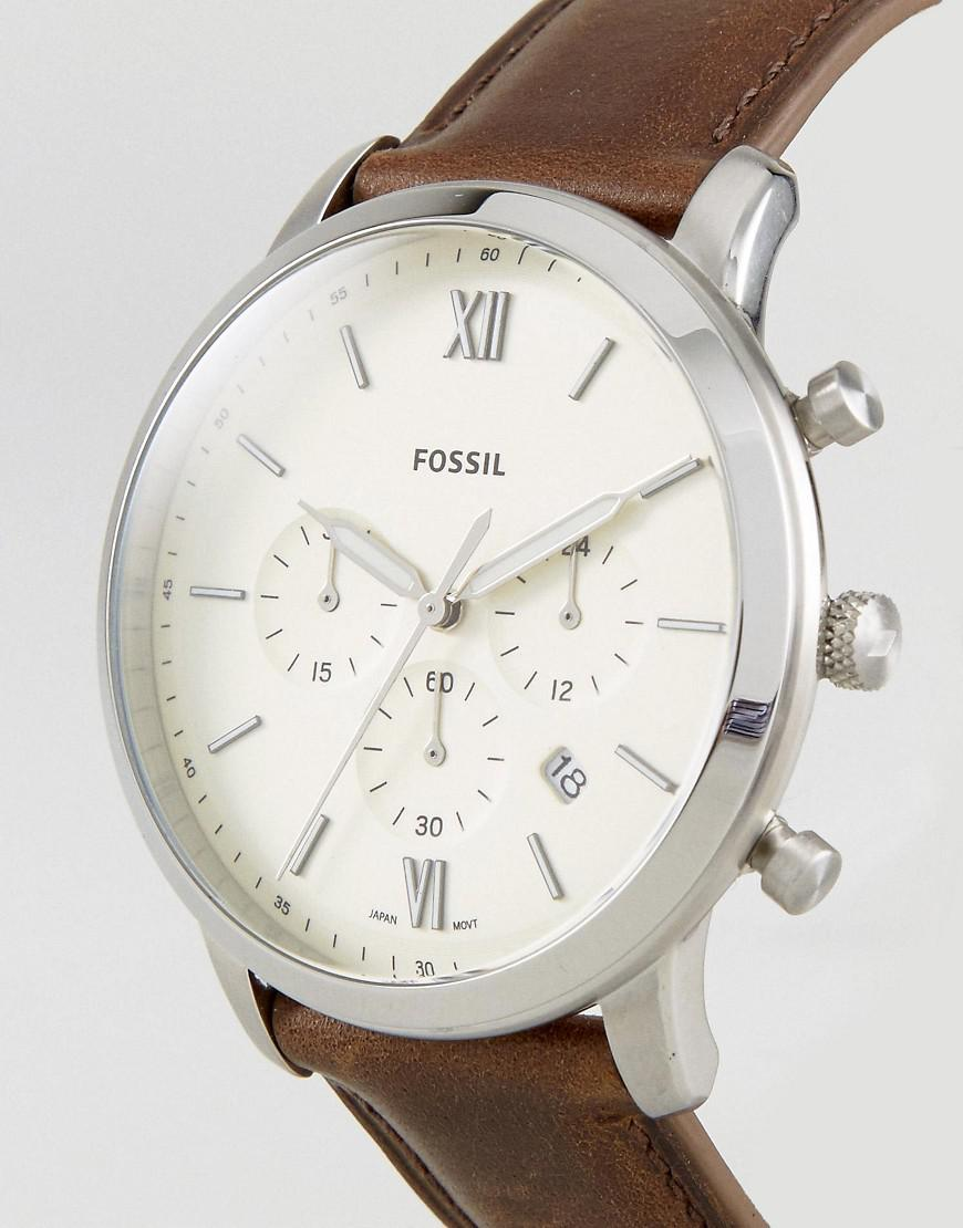 71c9296c78fc Fossil Fs5380 Neutra Chronograph Leather Watch In Brown in Brown for ...