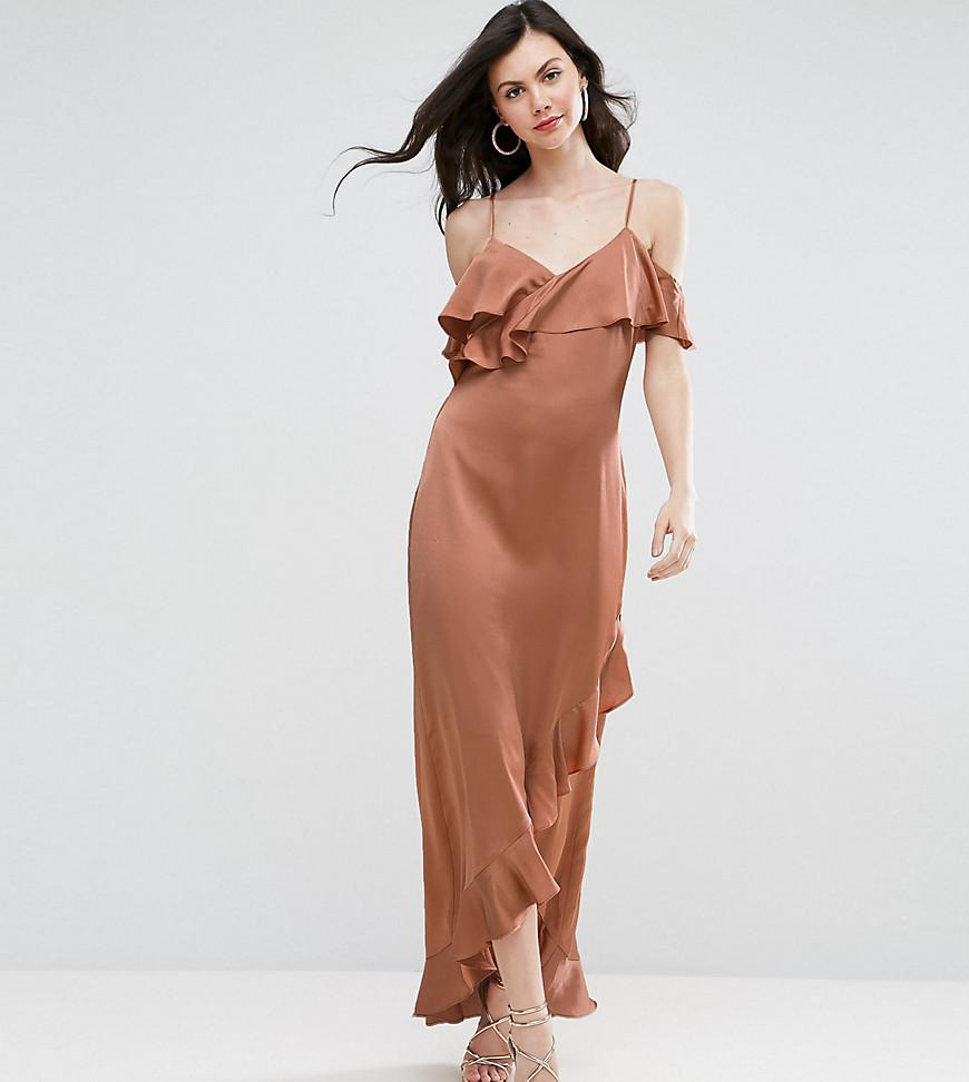 Cheap High Quality Cheap Amazing Price Y.A.S Studio Tall Fielle Ruffle Off Shoulder Cami Strap Midi Dress - Cream Y.A.S. Tall Free Shipping Affordable 12U98