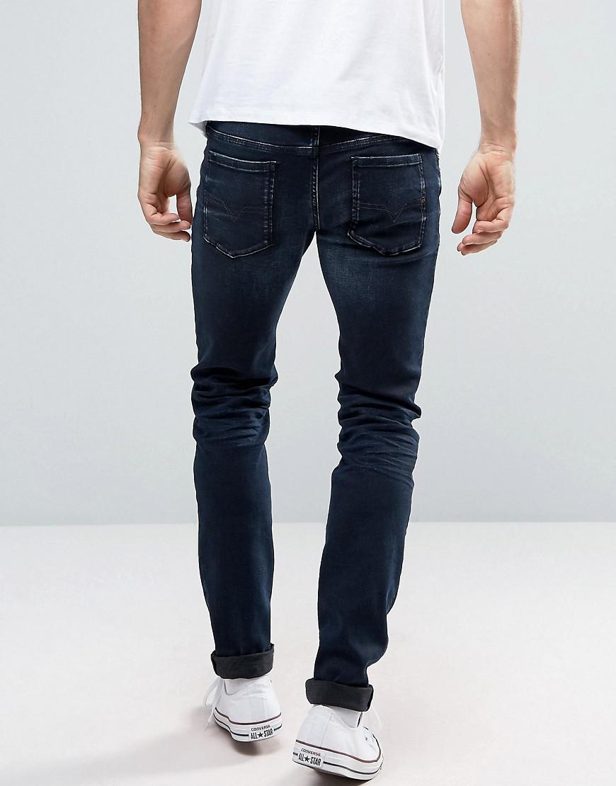 122ba041 DIESEL Sleenker Skinny Jeans 679q Dark Distressed Wash in Blue for ...