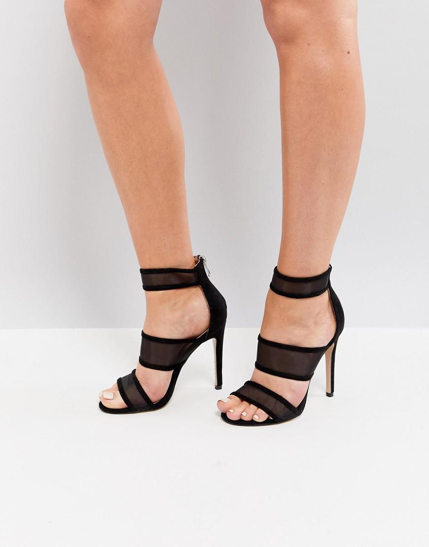 ff1fc28cd4c Public Desire Black Mesh Caged Heeled Sandals in Black - Lyst
