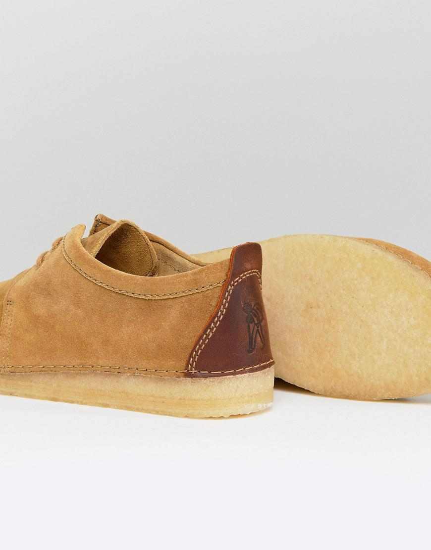 Ashton Suede Desert Shoes - Beige Clarks