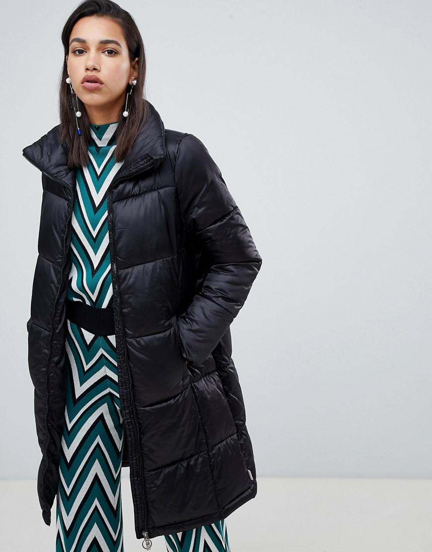 bf9be402ca97d Lyst - Vero Moda Longline Padded Jacket With Ring Pull in Black