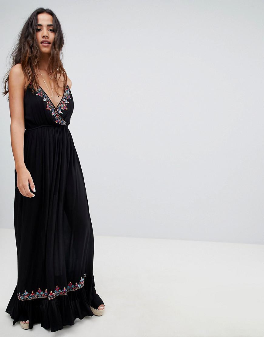 04089e9e8b5 Lyst - Raga Bandita Embroidered Maxi Dress in Black