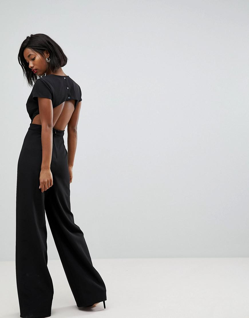 e37b823edab Lyst - ASOS Asos Plunge Neck Jumpsuit With Wide Leg And Open Back in Black
