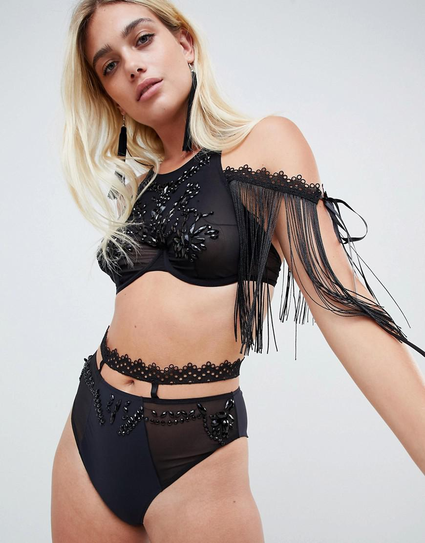 0f86341450 Lyst - ASOS Embellished Mesh   Lace Halter Underwire Bra in Black