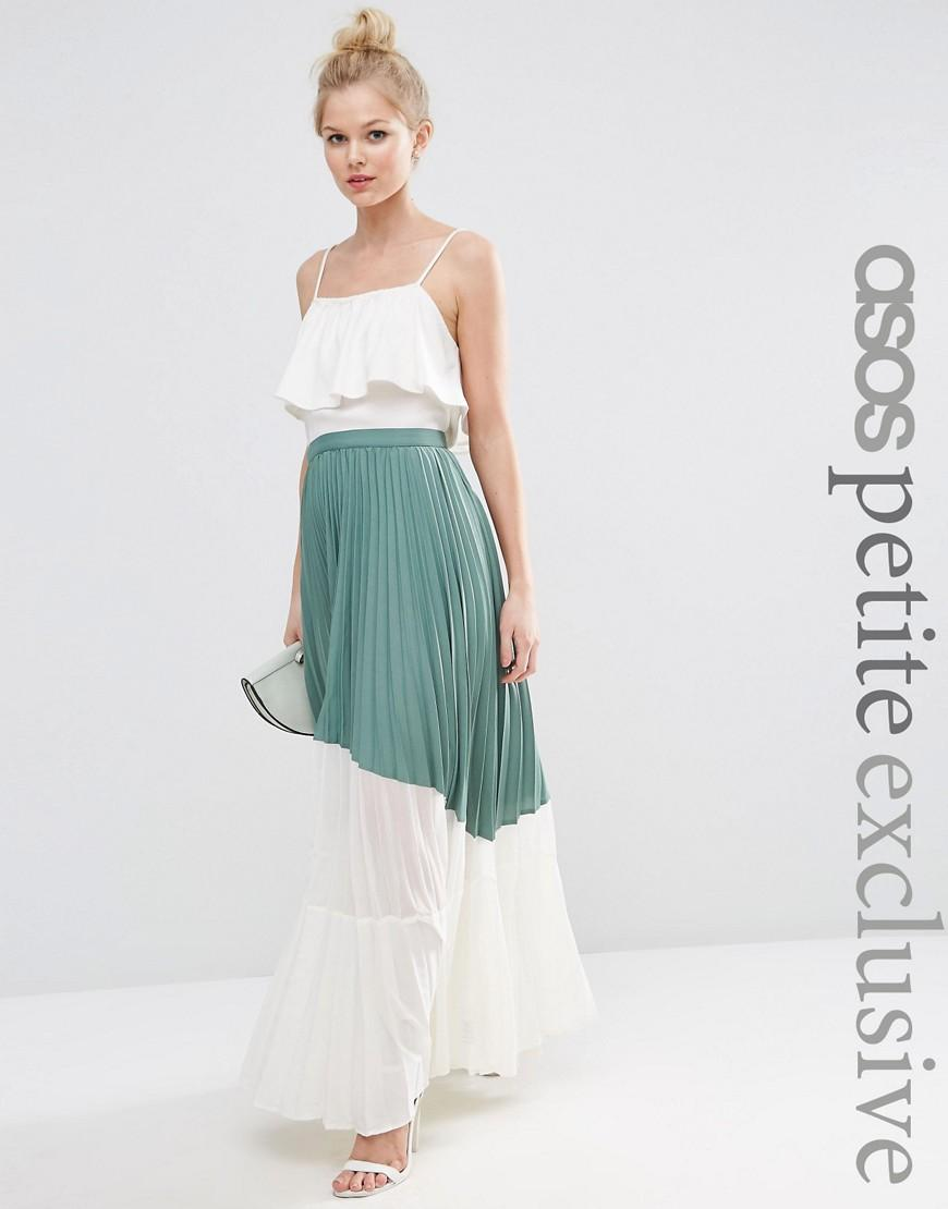 asos pleated maxi skirt with sheer insert detail in green