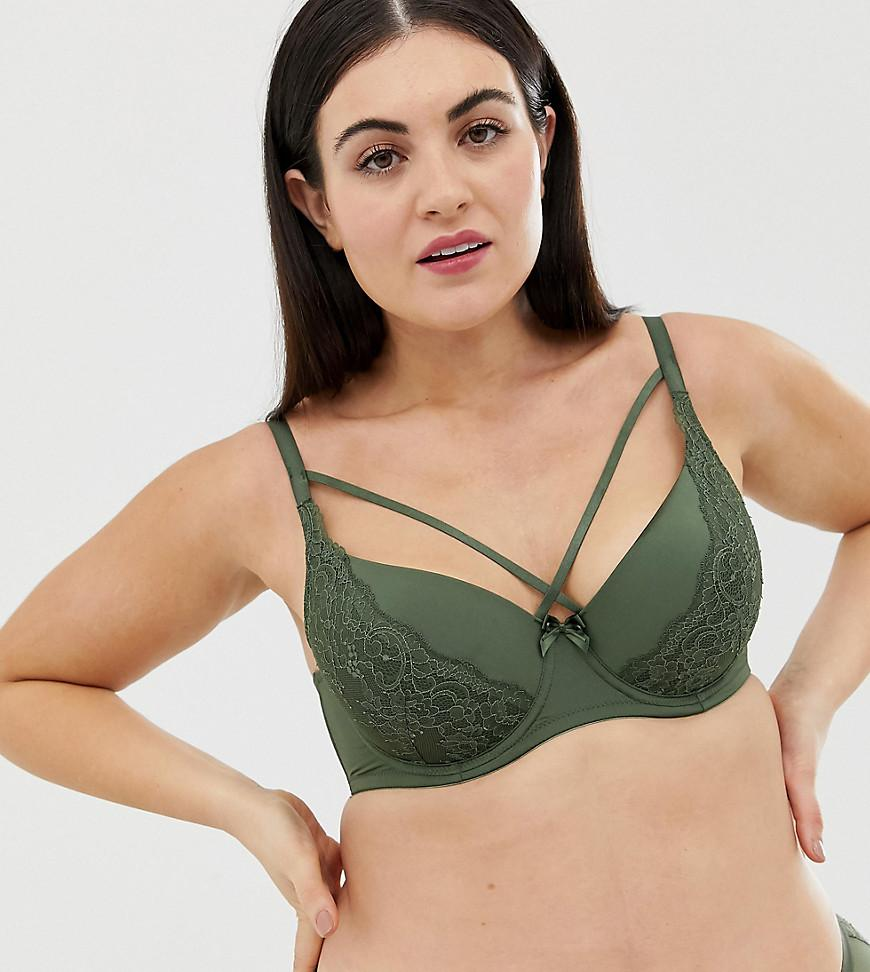 7b873ed166b49 DORINA Plus Size Blair Lace T-shirt Bra With Strapping In Khaki in ...
