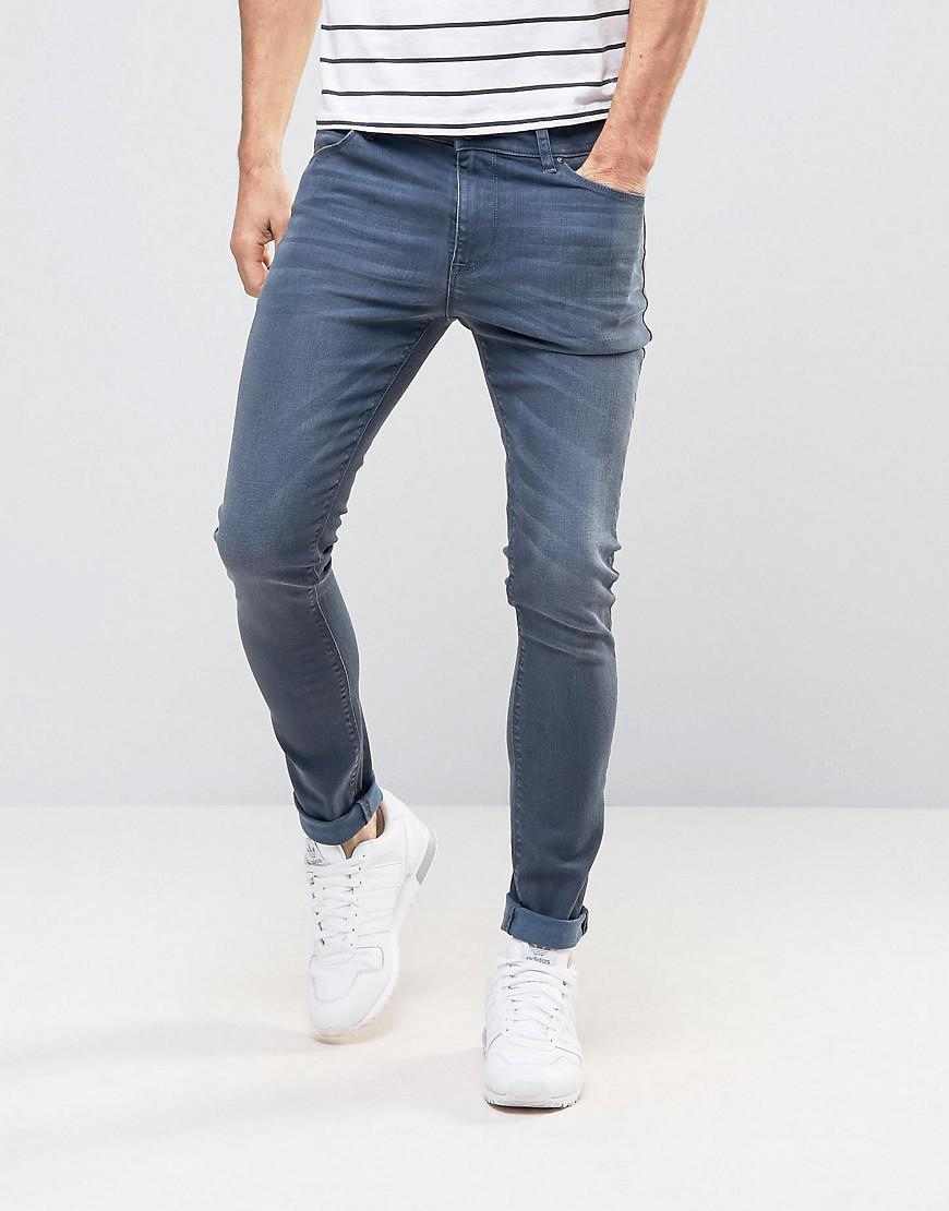 TALL Skinny Jeans In Smokey Blue - Dark wash blue Asos