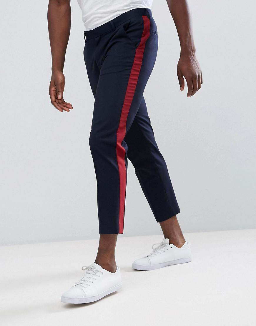 fe6bd68be93bb1 ASOS Skinny Crop Suit Trouser In Navy With Wine Side Stripe in Blue ...