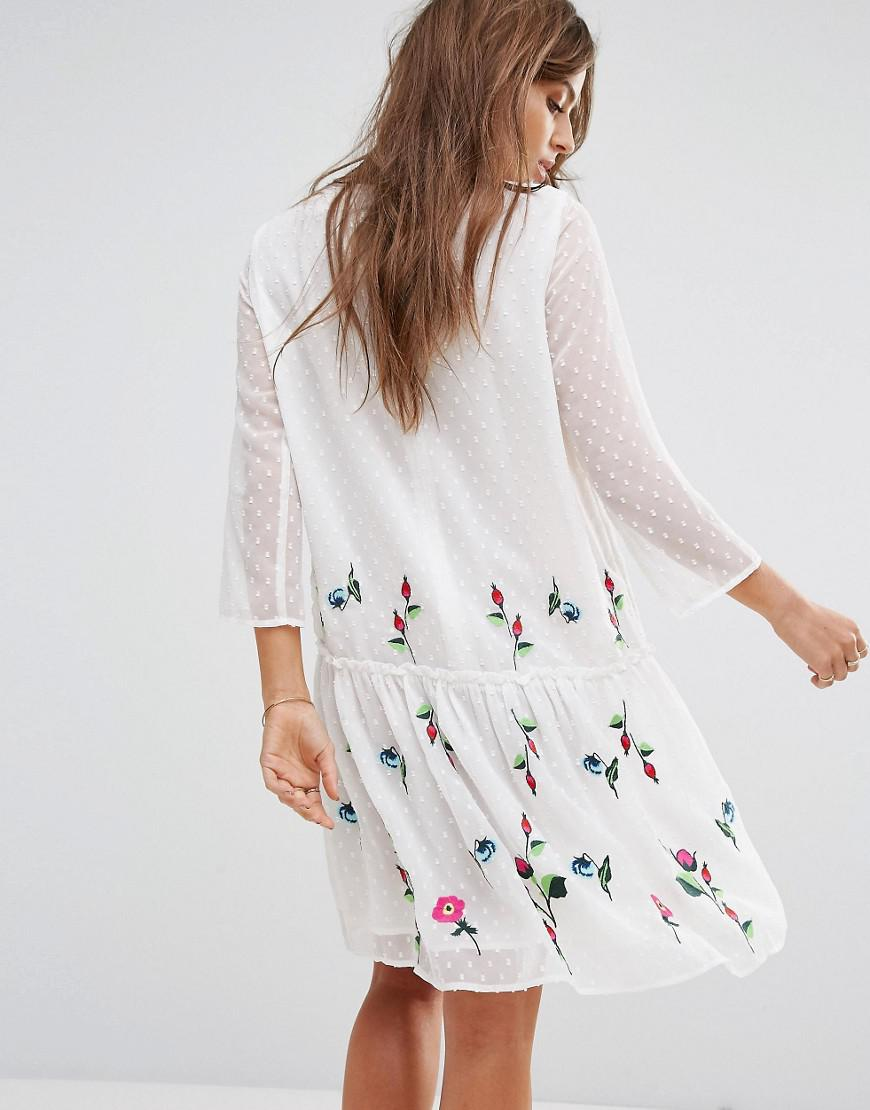 bfba2458a9cb Lyst - Y.A.S Embroidered Summer Dress in White