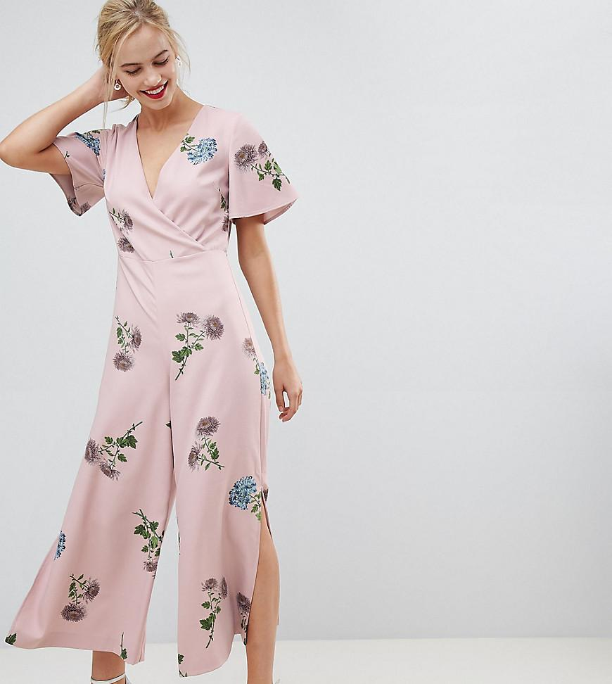 283115bfb88f Oasis Jumpsuit With Split Leg In Floral Print in Pink - Lyst