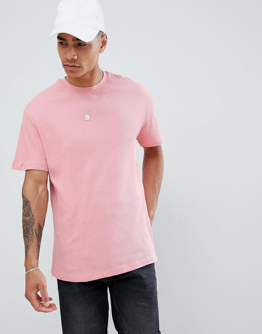 b6e058e0 Pull&Bear T-shirt In Pink With Waffle Texture in Pink for Men - Lyst