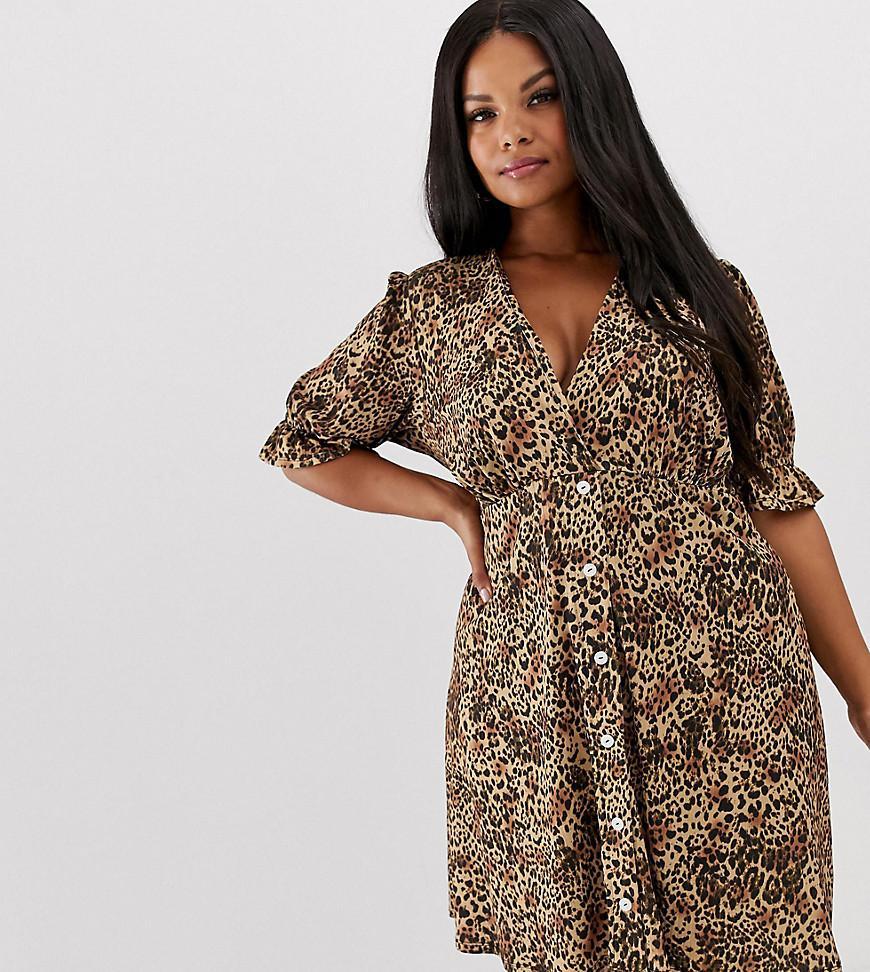 28424f7c3d88 ASOS. Women s Brown Asos Design Curve Button Through Rib Tea Dress With  Puff Sleeve In Animal Print