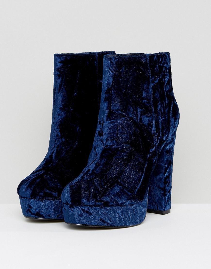 Kasser Velvet Platform Boots - Blue Aldo IUy2b