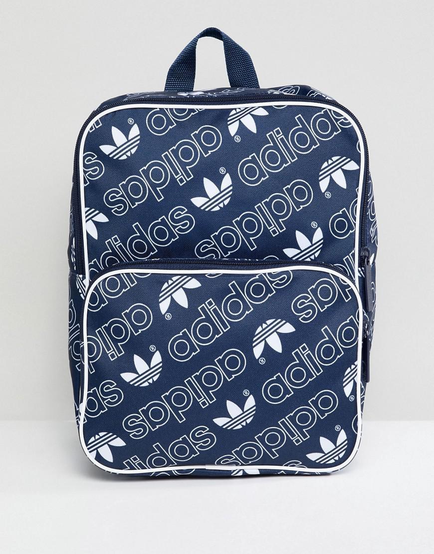 31e1763cac1f adidas Originals Classic Medium Backpack In All Over Logo in Black ...