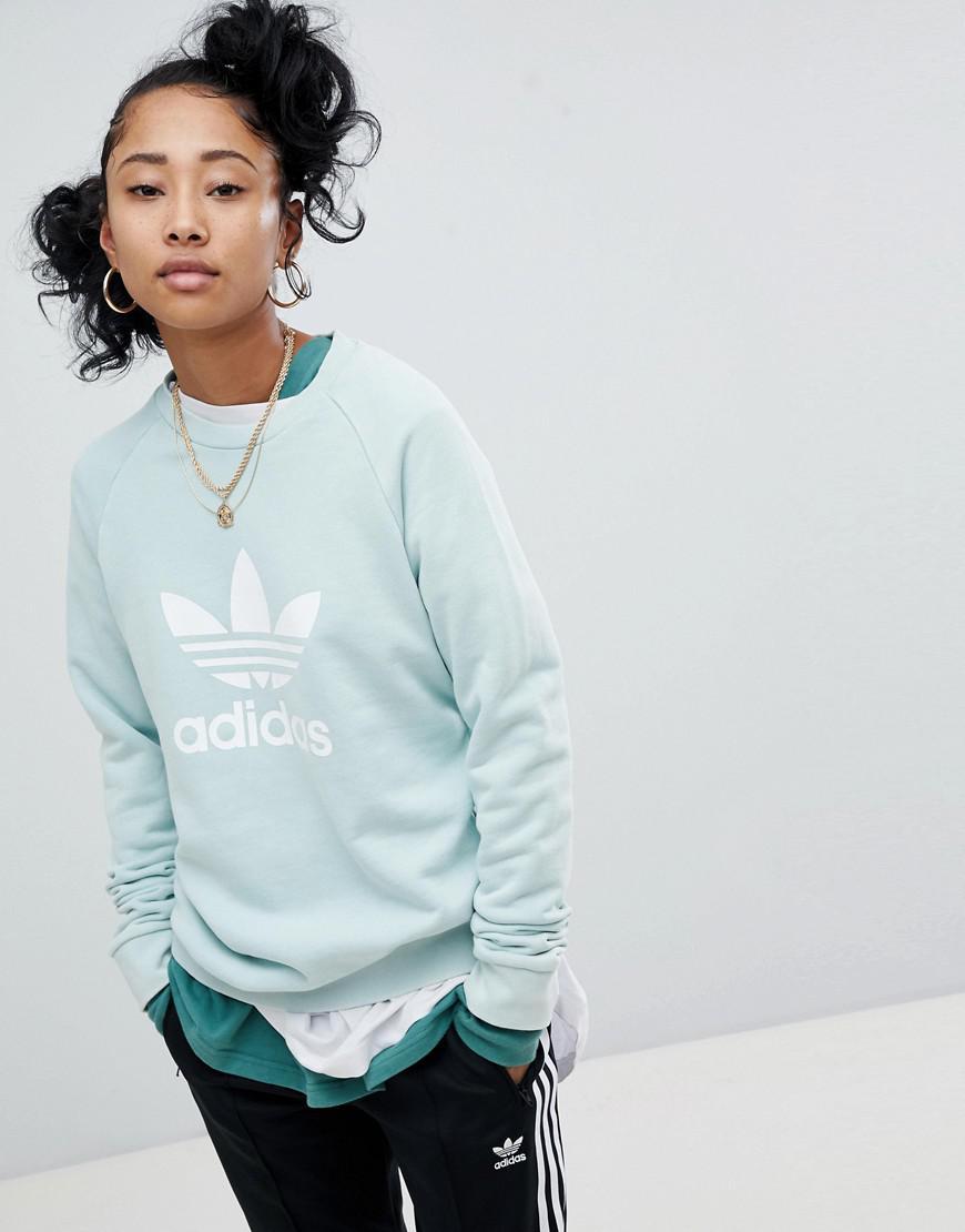 Adidas Originals Adicolor trébol sudadera oversize en menta en