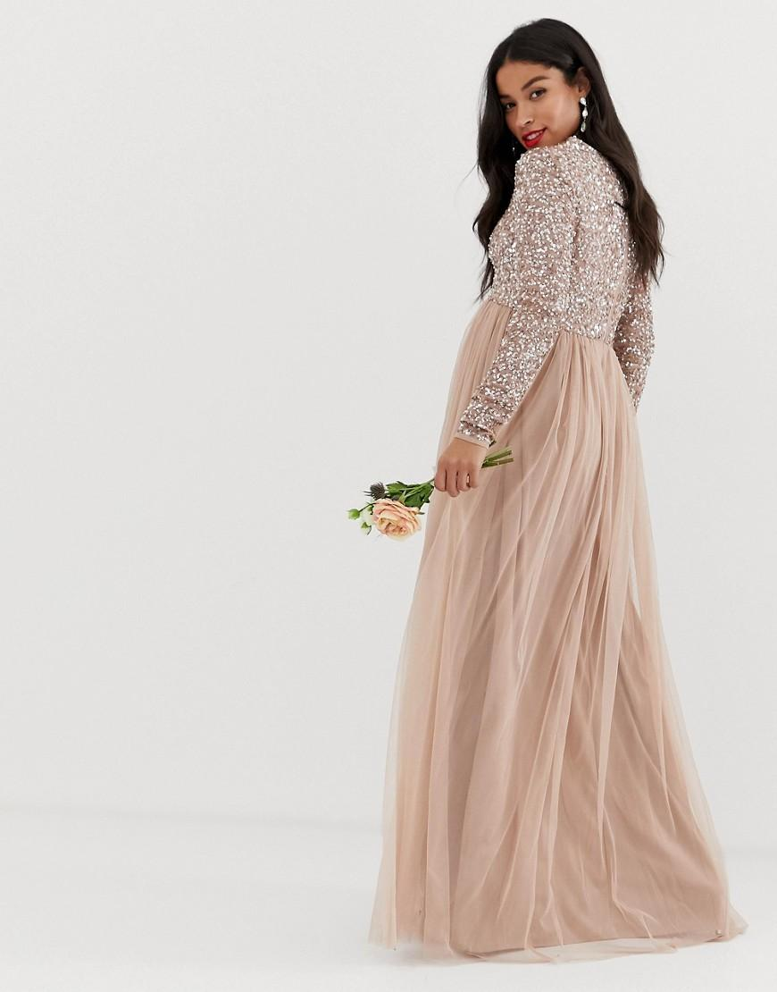 99676c1621b Maya Maternity Bridesmaid Long Sleeved Maxi Dress With Delicate Sequin And Tulle  Skirt In Taupe Blush in Brown - Lyst