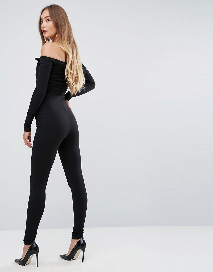 4e02af5418b Lyst - Missguided Bardot Tuxedo Jumpsuit in Black