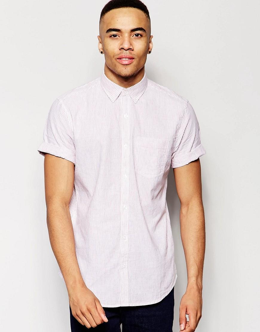 Lyst New Look Striped Shirt With Linen Mix In Red In