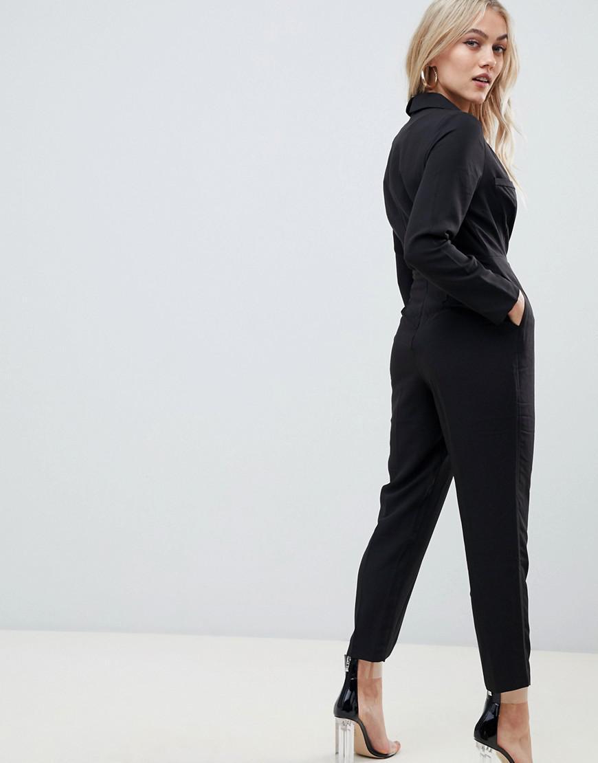 4b5717901bf Lyst - ASOS Asos Design Petite Tux Jumpsuit in Black