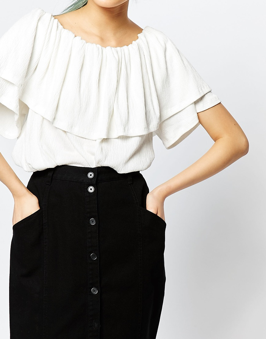 73034bfd5e0 Monki Ruffle Off The Shoulder Top in White - Lyst