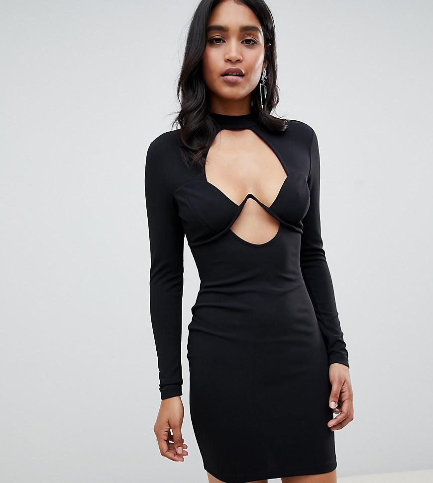 d08aba25a818a ASOS. Women's Black Asos Design Petite Long Sleeve Underwire Mini Bodycon  Dress