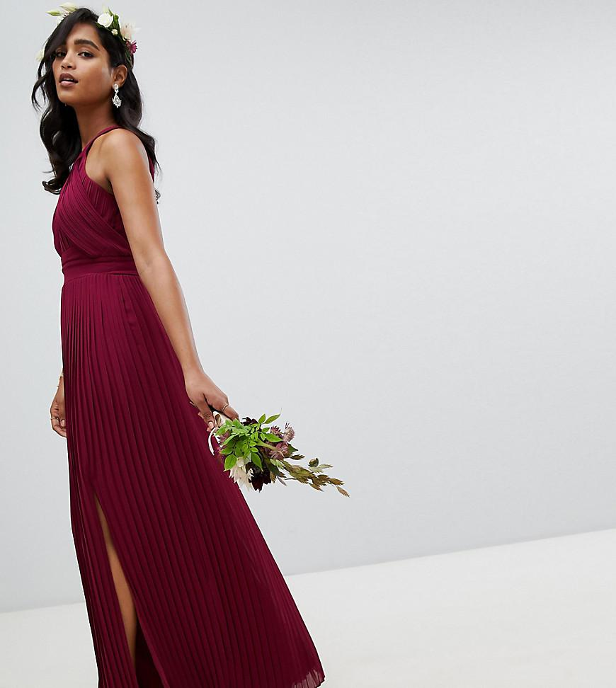 9a3ab69dba4 TFNC London Pleated Bridesmaids Maxi Dress In Burgundy in Red - Lyst