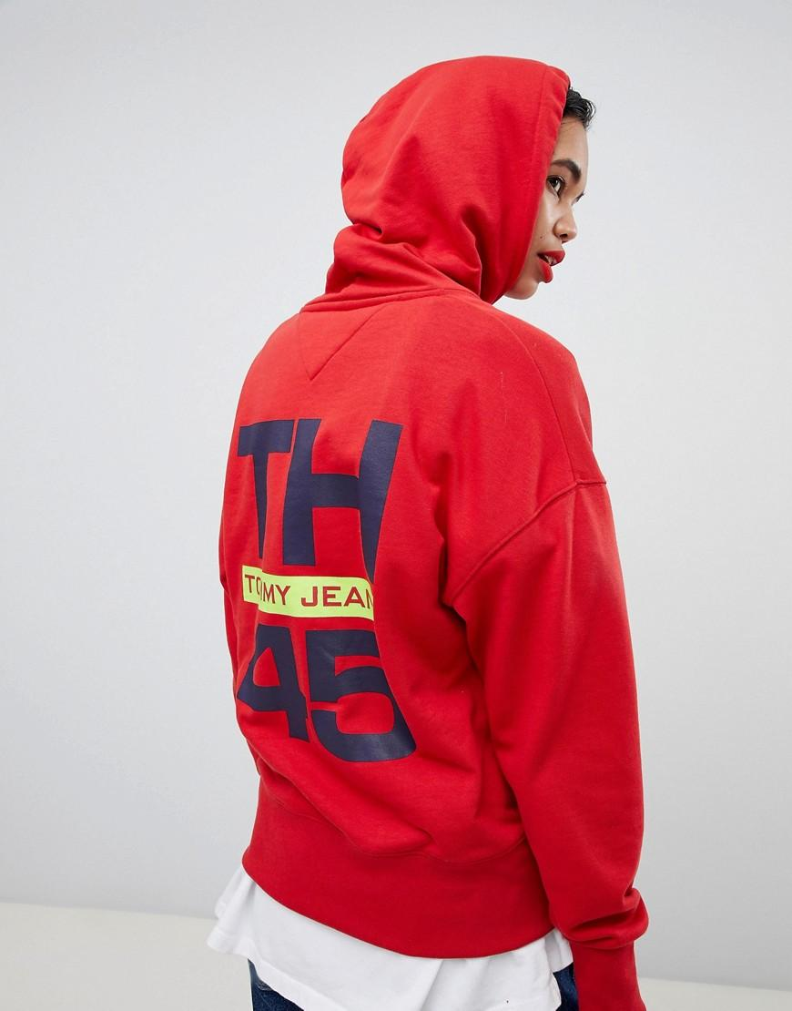 9c773a6e9bd1f5 Tommy Hilfiger 90s Capsule 5.0 Sailing Hoodie With Sleeve Logo in Red - Lyst