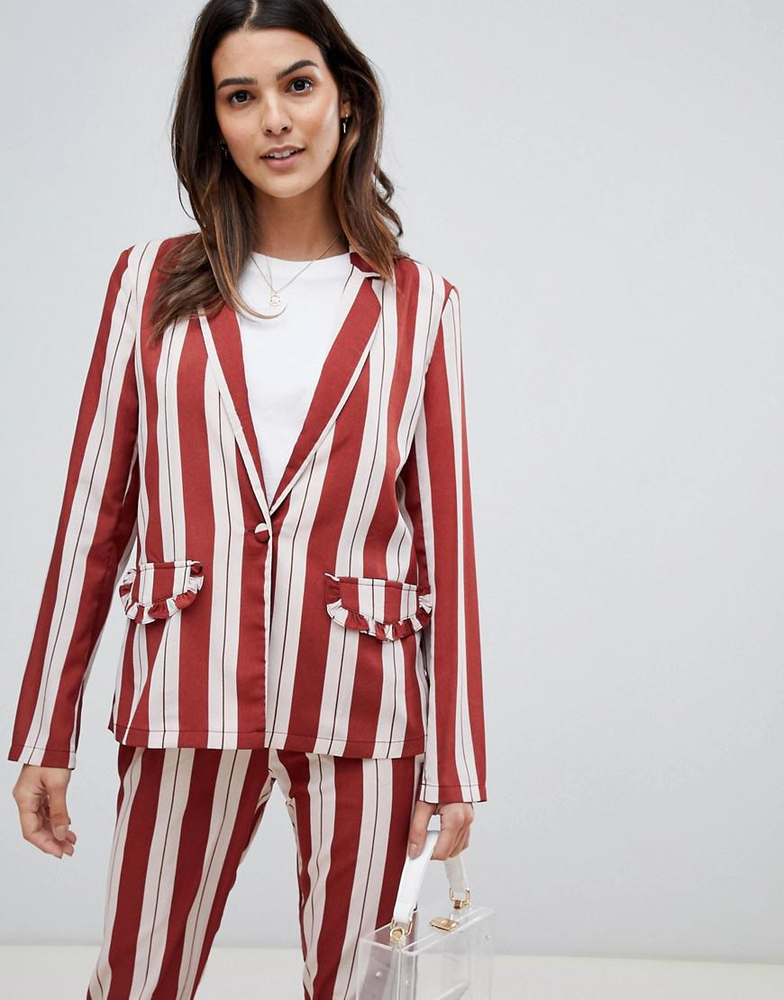 37c4073502 Lyst - Vila Frill Pocket Stripe Blazer in Red